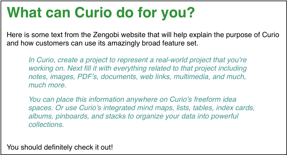 Curio 13 Release Notes